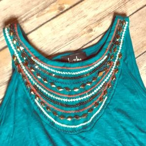 Turquoise Crew Neck Long Tank Top Womens Size SM